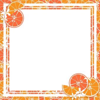 Etichetta quadrata bianca e rettangolo sullo sfondo di agrumi