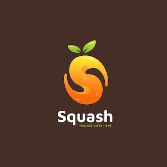 Icona del logo di frullati di succo d'arancia di zucca a forma di lettera s