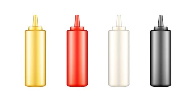 Spremi bottiglie di ketchup, maionese, senape e salsa di soia con tappo mockup
