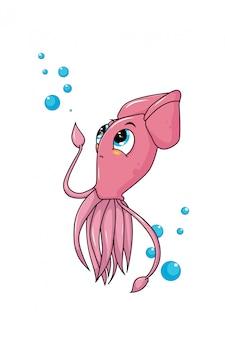 Calamari simpatici e divertenti animali dei cartoni animati