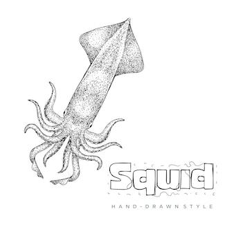 Illustrazione animale disegnata a mano di calamari