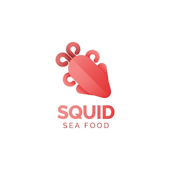Concetto di design del logo di calamari frutti di mare