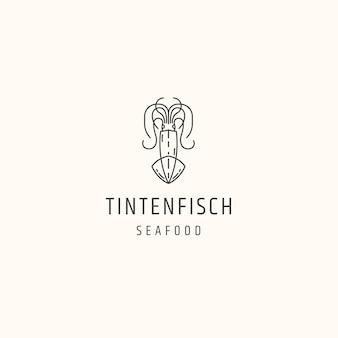 Illustrazione del modello di design piatto dell'icona del logo dei frutti di mare del calamaro