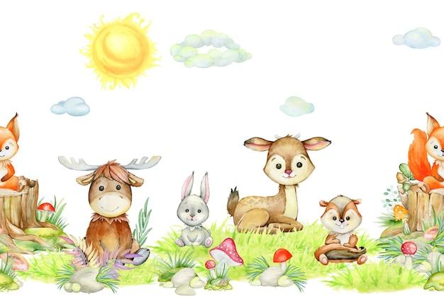 Scoiattolo, alce, coniglio, cervo, scoiattolo, sole, nuvole, piante di funghi, foresta, animali, in stile cartone animato. reticolo senza giunte dell'acquerello, su uno sfondo isolato.