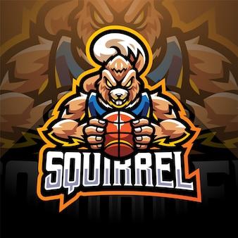 Squirrel sport esport mascotte logo design