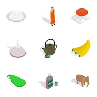 Icone di simboli di viaggio dello sri lanka messe