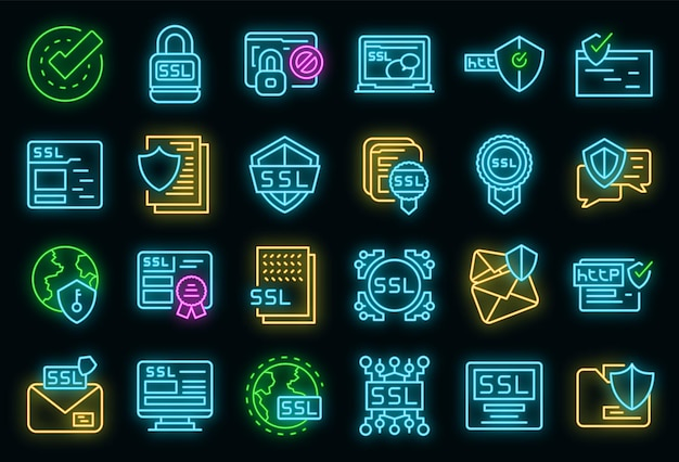 Set di icone del certificato ssl. contorno set di icone vettoriali certificato ssl colore neon su nero