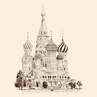 Cattedrale di san basilio sulla piazza rossa di mosca. russia.