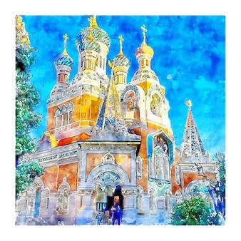 L'illustrazione disegnata a mano di schizzo dell'acquerello della francia della cattedrale ortodossa di san nicola