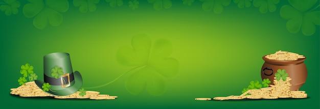Il giorno di san patrizio, il cappello verde sulla pentola con moneta d'oro con il trifoglio irlandese lascia. 3d foglie di trifoglio di vettore della maglia, isolato su sfondo verde, simbolo irlandese