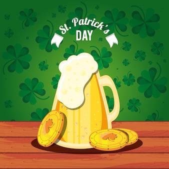 Giorno di san patrizio con il vaso e monete birra