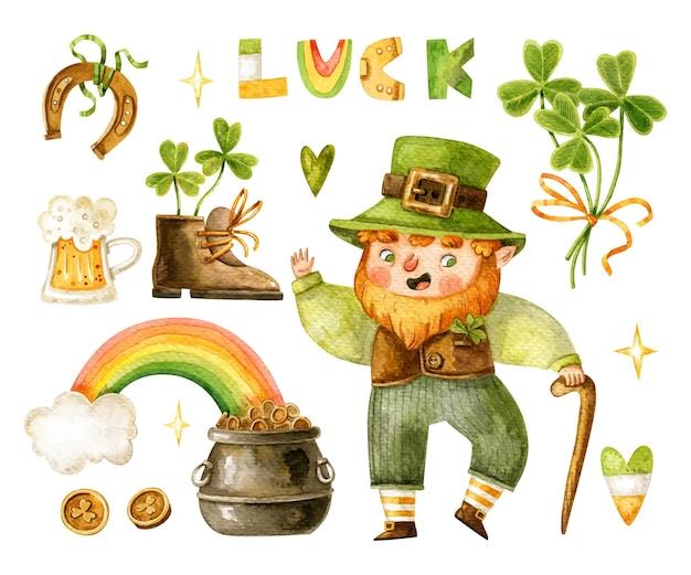 Collezione di elementi di san patrizio con leprechaun simpatico cartone animato, trifoglio, birra, scritte, pentola d'oro, coni, stivali, ferro di cavallo