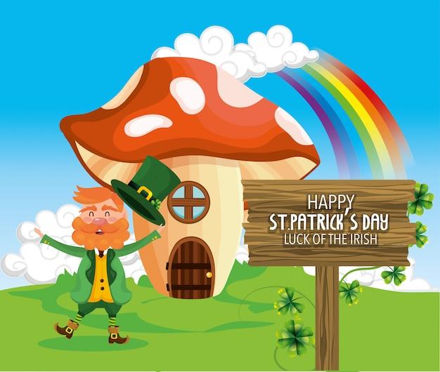 St patrick uomo con fungo casa e arcobaleno