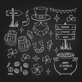 Collezione di elementi doodle del giorno di san patrizio