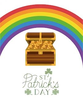 Etichetta del giorno di san patrizio con monete e arcobaleno