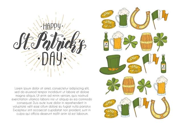 Poster di giorno di san patrizio con icone disegnate a mano.