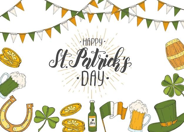 Giorno di san patrizio con cappello di san patrizio disegnato a mano, ferro di cavallo, birra, barile, bandiera irlandese, quadrifoglio e monete d'oro.