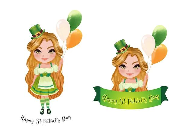 Ragazza di san patrizio in costume irlandese. buon giorno di san patrizio. raccolta del giorno di san patrizio