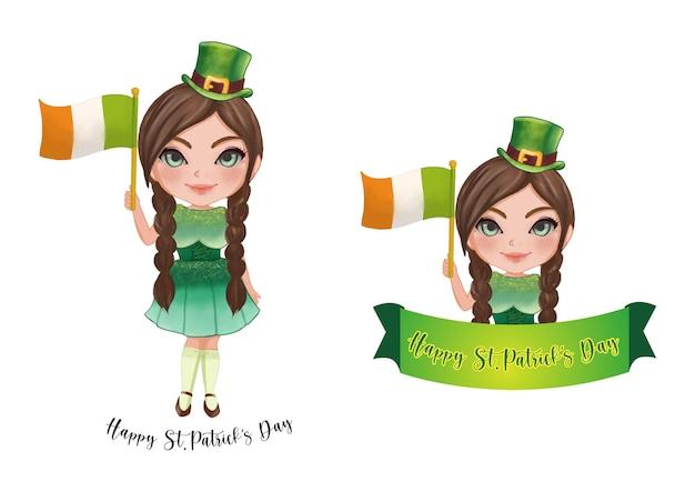 La ragazza irlandese di san patrizio. buon giorno di san patrizio. raccolta del giorno di san patrizio Vettore Premium