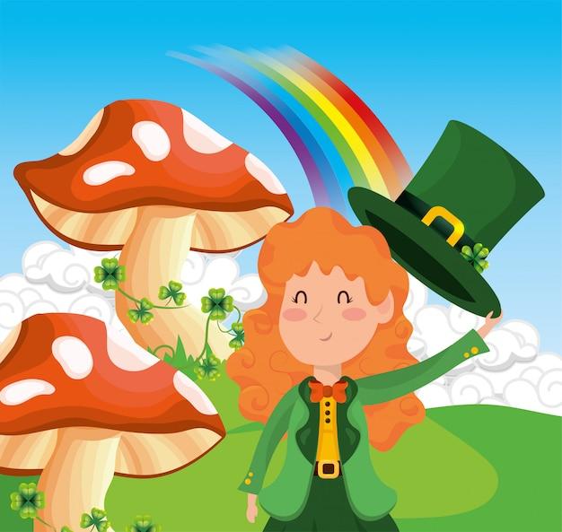 St patrick donna con funghi e trifogli con arcobaleno