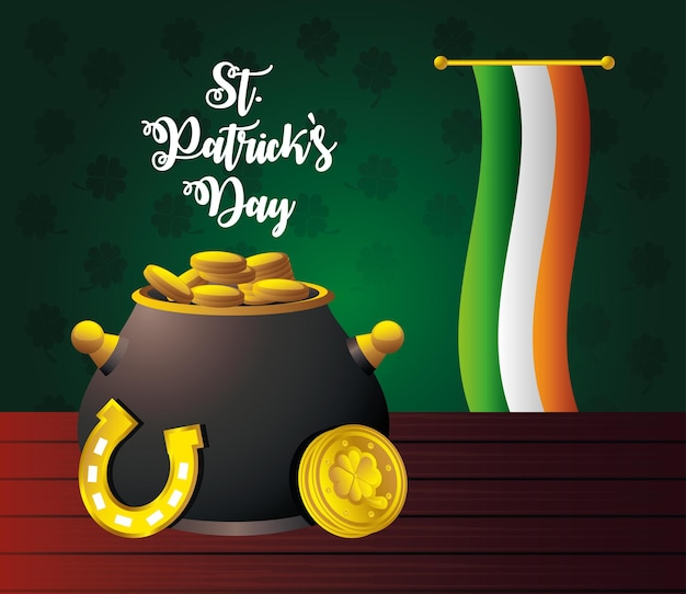 Calderone di giorno della st patricks con l'illustrazione della carta della bandiera irlandese e del ferro di cavallo delle monete