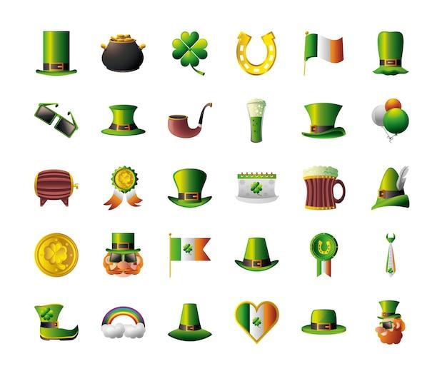 St patricks day celebrazione icone irlandesi cappello calderone moneta leprechaun cuore bandiera trifoglio illustrazione a ferro di cavallo