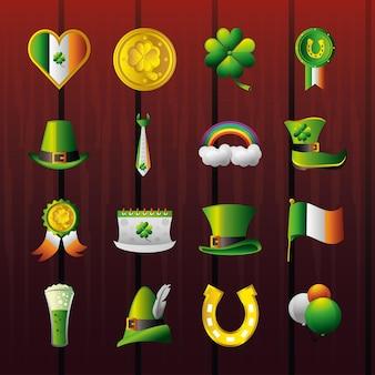 St patricks day icone cuore bandiera moneta trifoglio scarpa ferro di cavallo birra cappello illustrazione