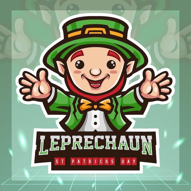 Mascotte sveglio del fumetto del leprechaun di giorno di san patrizio. design del logo esport.