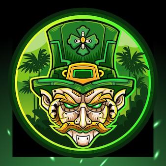 Festa di san patrizio. logo esport della mascotte del mecha della testa del leprechaun.