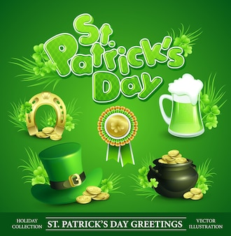 St. patricks day set di elementi di design