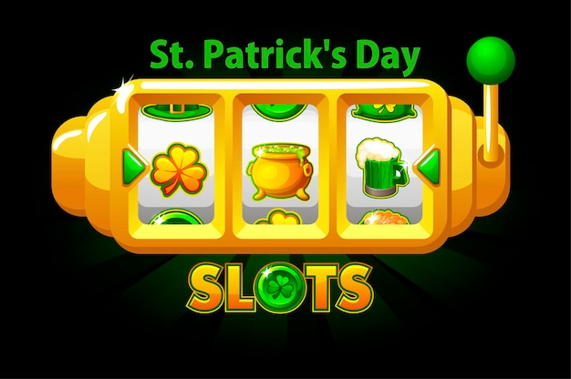Slot machine del giorno di san patrizio, simbolo del jackpot del trifoglio per il gioco dell'interfaccia utente. vittoria dell'insegna dell'illustrazione di vettore con la macchina da gioco dei segni di festa per il disegno