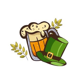 Adesivo per il giorno di san patrizio con un bicchiere di birra e un cappello da folletto verde.