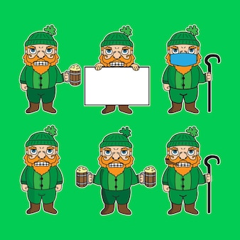 Illustrazione del personaggio dei cartoni animati della mascotte nana di san patrizio in varie pose adatte per adesivi