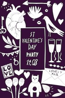 Modello di banner di san valentino. illustrazioni disegnate a mano su sfondo scuro. con i simboli di san valentino. può essere utilizzato come volantino, copertina o invito