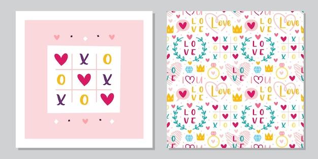 Disegno del modello di biglietto di auguri di san valentino. amore, cuore, anello, corona, tic tac toe. relazione, emozione, passione.