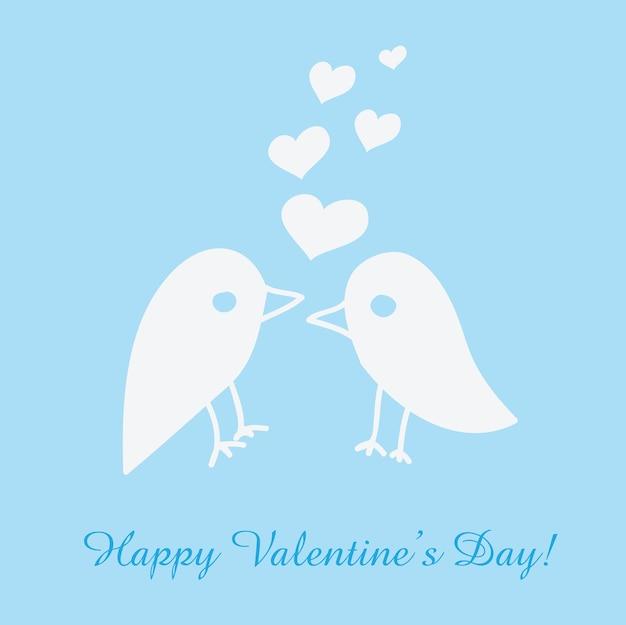 Biglietto di auguri di san valentino con uccelli - illustrazione vettoriale