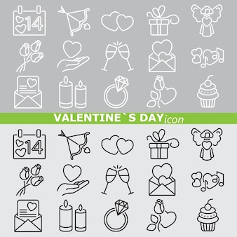 Icone di san valentino. linea impostata