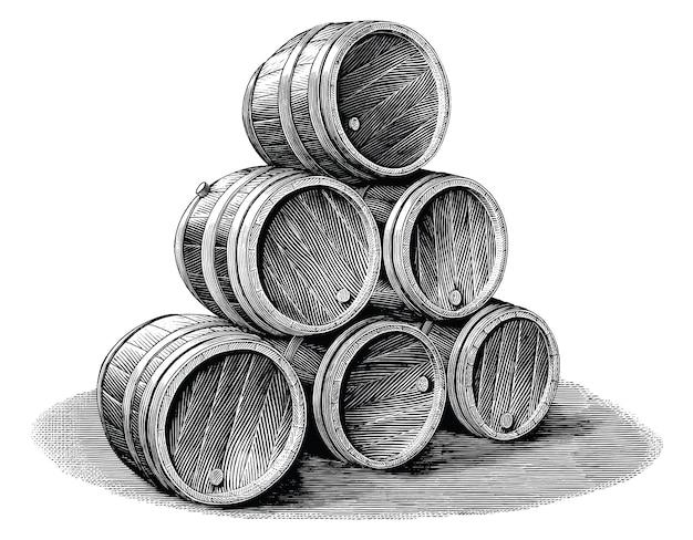 Pila di barile di birra disegnati a mano vintage stile di incisione in bianco e nero clip art isolati su sfondo bianco