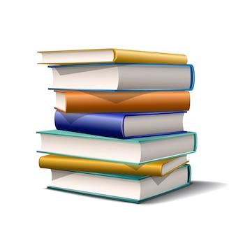 Pila di libri blu e gialli. libri vari colori su sfondo bianco. illustrazione