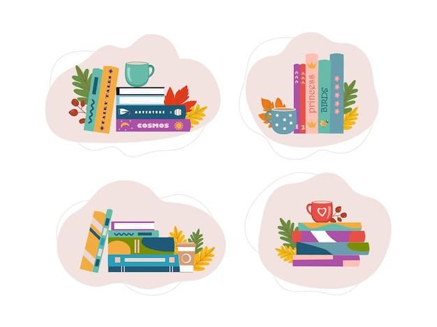 Pila di libri con una tazza di tè o caffè e foglie amo leggere il concetto per le biblioteche della libreria