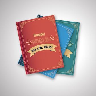 Pila di libri, felice giornata mondiale su uno sfondo bianco