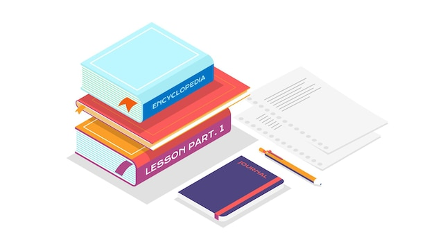 Pila di libri in stile isometrico