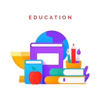 Pila di libri e di scuola che studiano l'illustrazione piana dell'attrezzatura per il giorno internazionale di alfabetizzazione e di istruzione