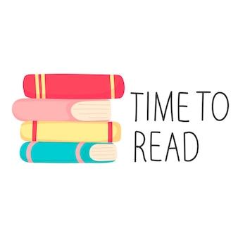 Pila di libri adesivo scritte tempo di leggere in stile cartone animato