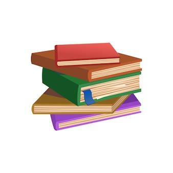 Pila di libri su sfondo bianco. vecchi libri. illustrazione di vettore del fumetto.