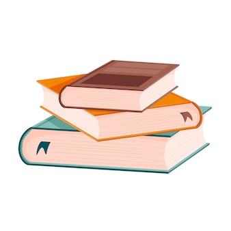 Una pila di libri con segnalibri. libri di testo con copertina rigida. educazione, lettura, tempo libero, studio.