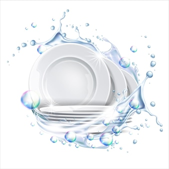 Pila di piatti puliti spruzzi d'acqua esplosione di liquidi