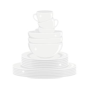 Pila di piatti bianchi lucenti puliti stoviglie lavate stoviglie da cucina Vettore Premium