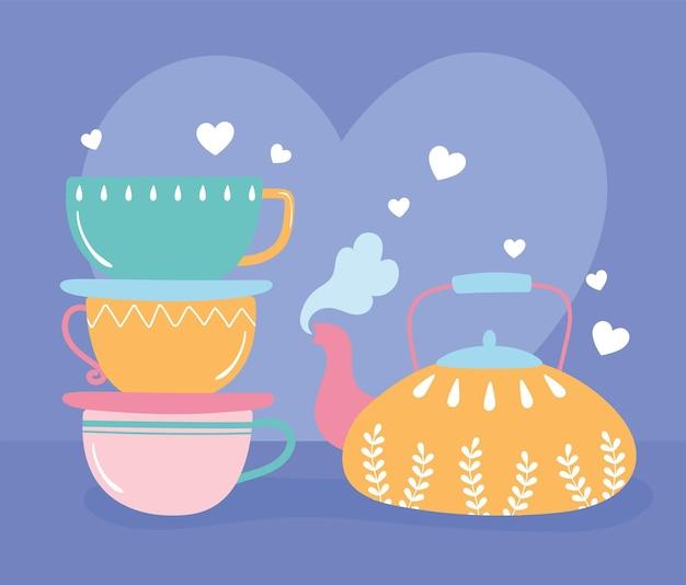 Pila di tazze colorate e illustrazione di bevanda calda teiera