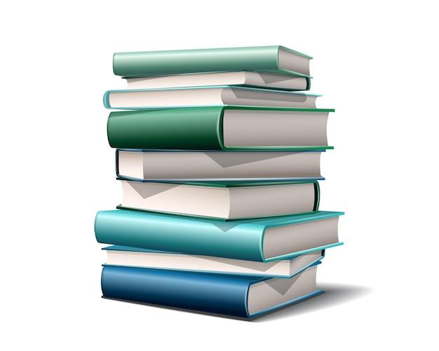 Pila di libri colorati. libri vari colori isolati su sfondo bianco. illustrazione vettoriale